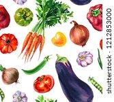 vegetable mix of watercolor... | Shutterstock . vector #1212853000