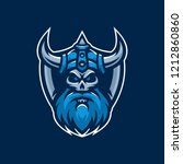 viking mascot gaming logo   Shutterstock .eps vector #1212860860