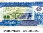 10000 kip bank note. Kip is the national currency of Laos. Close Up UNC Uncirculated - Collection.