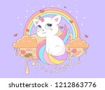 unicorn cat sits with different ... | Shutterstock .eps vector #1212863776