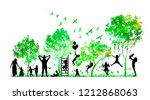 silhouettes of family and... | Shutterstock .eps vector #1212868063