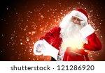 santa holding christmas letters ... | Shutterstock . vector #121286920