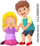 cartoon little boy comforting a ... | Shutterstock .eps vector #1212888430