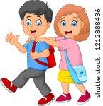 happy kids going to school | Shutterstock .eps vector #1212888436