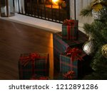 view of wrapped gifts and... | Shutterstock . vector #1212891286