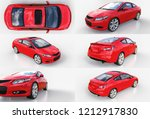 red small sports car coupe. 3d... | Shutterstock . vector #1212917830