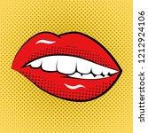 pop art woman lips retro style... | Shutterstock .eps vector #1212924106