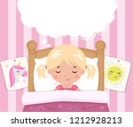 the little girl sleeps in the... | Shutterstock .eps vector #1212928213