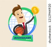 bookmaker man with ball ... | Shutterstock .eps vector #1212944920