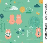 seamless pattern with cute pigs ... | Shutterstock .eps vector #1212999856