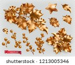christmas decorations. golden... | Shutterstock .eps vector #1213005346
