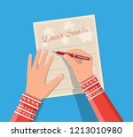 Child hand with pen writing letter to santa claus. Holidays wishlist. Christmas new year eve xmas holidays. Vector illustration flat style
