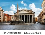 pantheon and fountain in rome... | Shutterstock . vector #1213027696