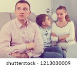 pregnant mother and son having...   Shutterstock . vector #1213030009