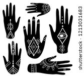 ethnic set with hands. boho... | Shutterstock .eps vector #1213031683