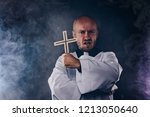 catholic priest exorcist in... | Shutterstock . vector #1213050640