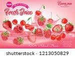 mix fruits and berries. splash... | Shutterstock .eps vector #1213050829