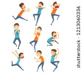 scared and panicked young men... | Shutterstock .eps vector #1213060336