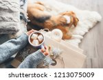 woman hands with cup of hot... | Shutterstock . vector #1213075009