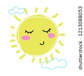 childs drawing of sun. cute... | Shutterstock .eps vector #1213088053