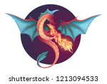 Stock vector fire breathing flying dragon vector illustration 1213094533