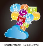 communication signs with cloud... | Shutterstock .eps vector #121310593