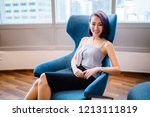 a pretty  young businesswoman... | Shutterstock . vector #1213111819