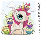 cute cartoon unicorn with pink... | Shutterstock .eps vector #1213116766