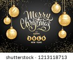 merry christmas and happy 2019...   Shutterstock .eps vector #1213118713