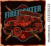 vector logo of a fire truck on... | Shutterstock .eps vector #1213120123