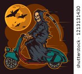 skeleton with a scythe riding a ... | Shutterstock .eps vector #1213131430