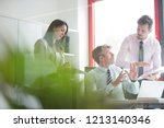 three business people having a... | Shutterstock . vector #1213140346