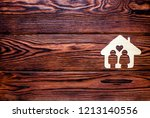 the symbol of home and love on... | Shutterstock . vector #1213140556