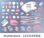 set stroke spot golden pink... | Shutterstock .eps vector #1213144306