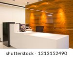 front view on the reception desk   Shutterstock . vector #1213152490