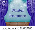 theatre stage with snowflakes.... | Shutterstock .eps vector #1213155700