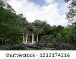 Yue Fei Pavilion viewed with surrounding trees. Taken in Taroko National Park in Taiwan