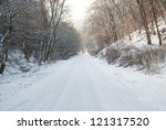 snowy winter road | Shutterstock . vector #121317520