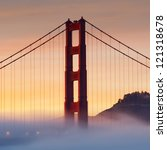panorama photo of golden gate...   Shutterstock . vector #121318678