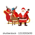 vector cartoon sleigh with bag... | Shutterstock .eps vector #1213202650