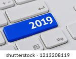a keyboard with a blue button   ... | Shutterstock . vector #1213208119