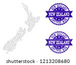 dotted black map of new zealand ... | Shutterstock .eps vector #1213208680