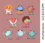 set of cute cartoon solar... | Shutterstock .eps vector #1213223299
