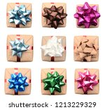 top view of wrapping gift boxes ... | Shutterstock . vector #1213229329
