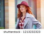 beautiful girl enjoying the... | Shutterstock . vector #1213232323