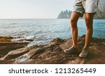 feet man walking on sea beach... | Shutterstock . vector #1213265449
