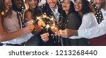 group of happy friends in new... | Shutterstock . vector #1213268440