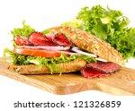 salami sandwich with full corn...   Shutterstock . vector #121326859