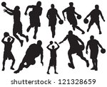 silhouettes of basketball... | Shutterstock .eps vector #121328659