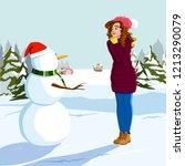 girl admires the snowman in... | Shutterstock .eps vector #1213290079